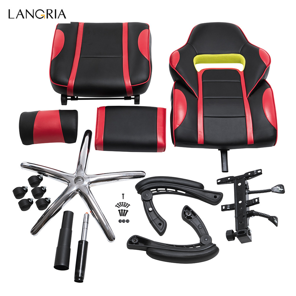 racing office chairs best nursery rocking 2018 langria adjustable chair ergonomic high back faux leather style reclining computer gaming executive paddedfootrest in from