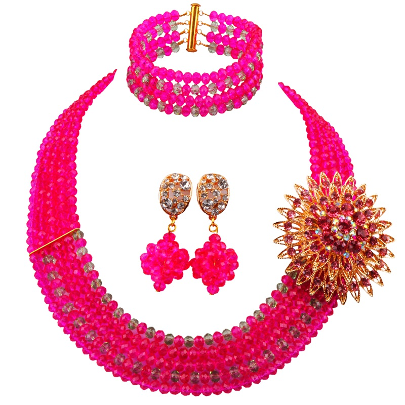 Direct Sale Fuchsia Pink Light Green Nice Quality Crystal Wedding and Engagement Beaded Jewelry Sets for Lady 5C-ST-11