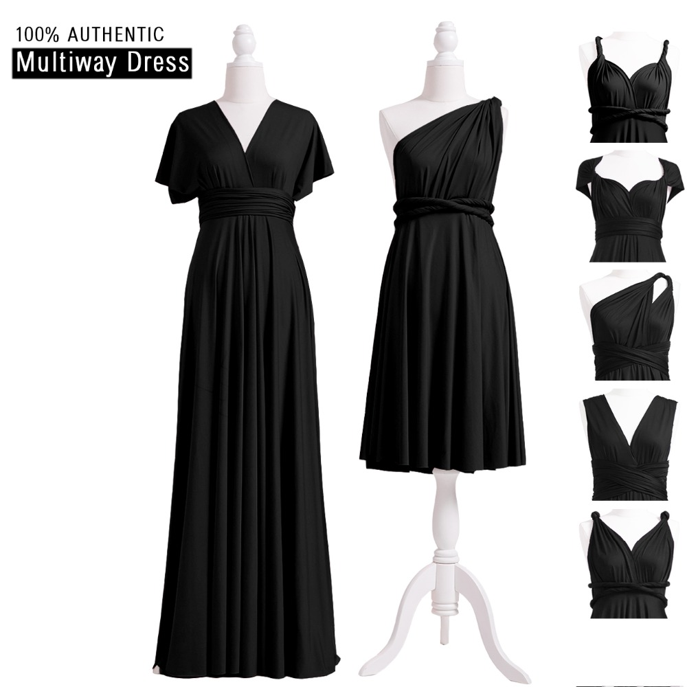 Black Bridesmaid Dress Multiway Infinity Dress Bridesmaid Long Dress Convertible Maxi Wrap Dress With Straps One Shoulder Styles