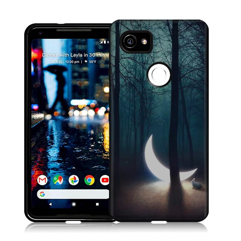 Black Case For Google Pixel 2 XL 6.0 Soft Rubber Silicone TPU Slim Case For Fundas Google Pixel 2 XL 2XL Vintage Back Cover Capa