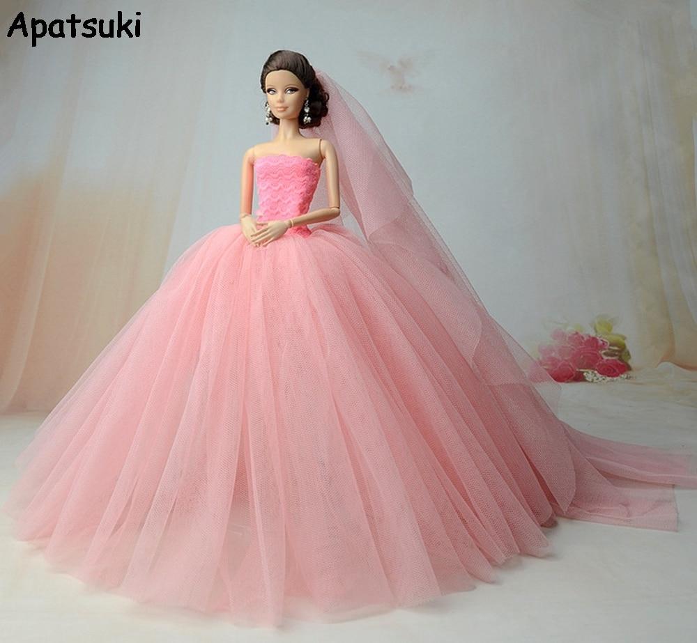 Rosa vestido de fiesta para Barbie Doll alta calidad cola larga ...