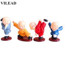 VILEAD 4pcs/Set Resin Kungfu Monk Figurines Cute Cartoon Little Statue Lovely Ornament Crafts for Home Decor Kids Gifts