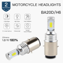 2 PCS Motorcycle Headlight LED White Bulbs CSP Chips 6500K Side Beam 9-36V BA20D Moto Lamps Motorbike Lights