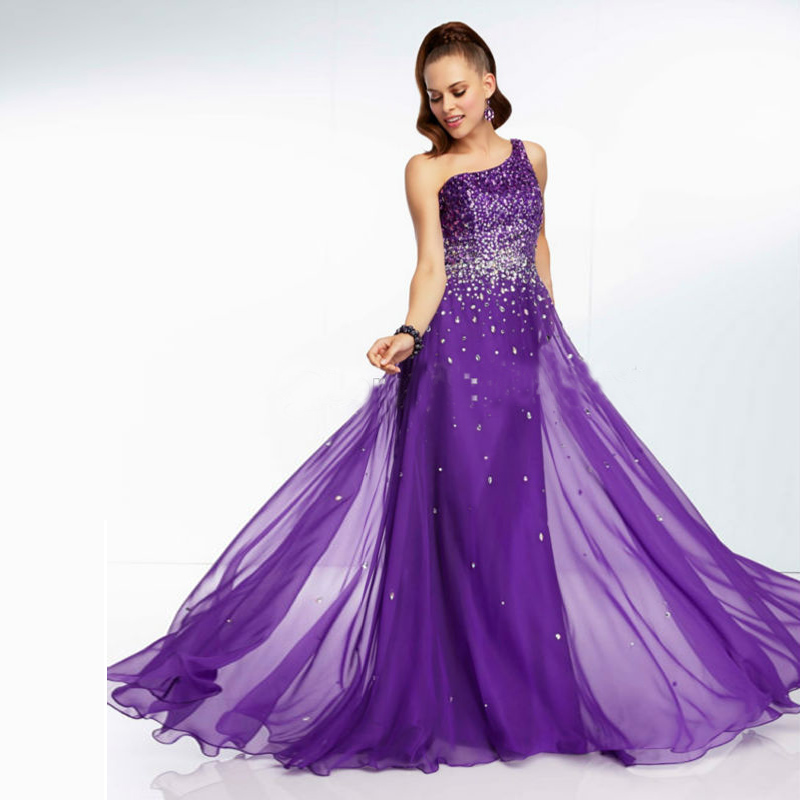 elegant long purple bridesmaid dresses one shoulder