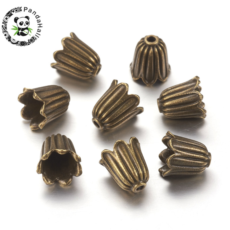 20Pcs Bead Caps For Jewelry Making  Antique Bronze Tibetan Style Alloy Beads Cadmium Free Lead Free Nickel Free 10x10mm Hole 1mm