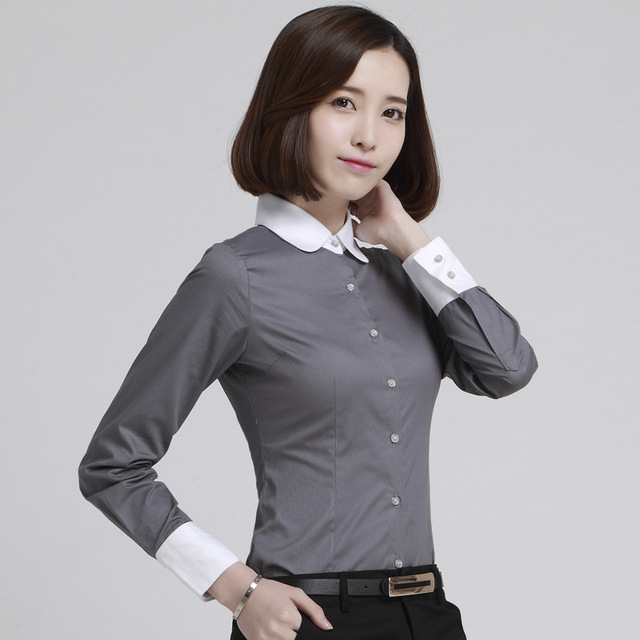 d0f4ecc12ee 5XL Plus Size Women Blouses 2019 New Spring Office Lady Occupational Shirts  Long Sleeve Peter Pan Collar Tops Camisetas Feminino