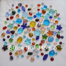 Free shipping mix  colored glass stones in various shapes fish tank aquarium beads cobblestone for home decorations