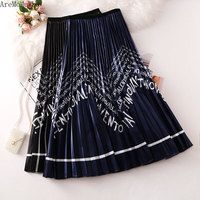 AreMoMuWha 2019 Summer New Fashion Wavy Letters Printed Pleated Skirt Female Tide Long Section A Word Skirt Big Swing SkirtMH385