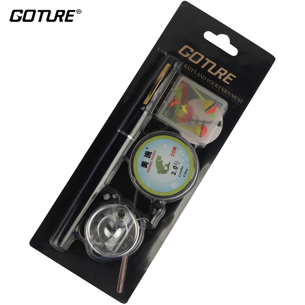 Mini Pocket Ice Fly Fishing Reel and <font><b>Rod</b></font> Combos Set Aluminum Alloy Pen Fishing Pole Saltwater Freshwater Extended 1.34m