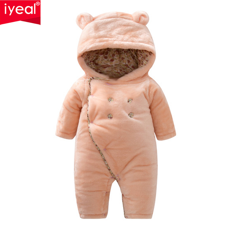 IYEAL Baby Girl Clothes Newborn Quality Hooded Rompers Cartoon Thick Warm Infant Jumpsuit Winter Toddler Boy Clothes Outfits iyeal new spring autumn baby rompers cartoon christmas deer cotton sweater infant girl boy jumpers kids baby outfits clothes