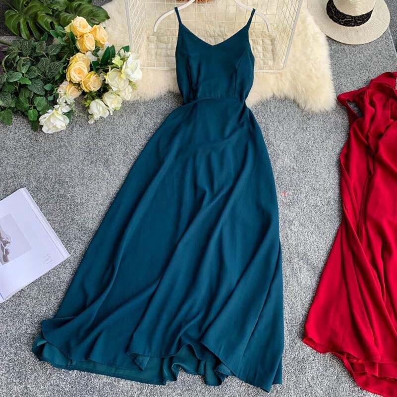 NiceMix Vestidos Verano 2019 Vogue Party Sundress Elegant Ladies Dresses Temperament Sexy V-neck Backless Summer Beach Dress Lon