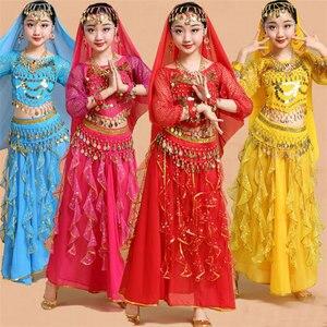 Image 2 - Trẻ em Cô Gái Trang Phục Múa Bụng Trẻ Em Trẻ Em Bụng Nhảy Múa Cô Gái Bollywood Ấn Độ Hiệu Suất Vải Thiết Lập Thủ Công Cô Gái Ấn Độ Quần Áo