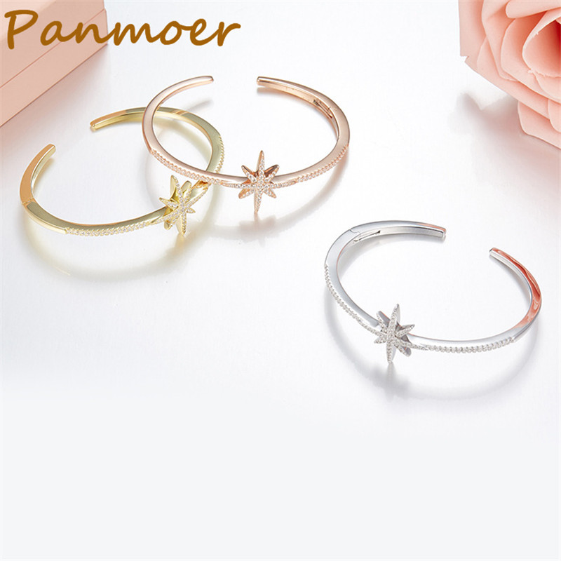 Brand S925 Sterling Silver Tiny inlaid stars open bracelet fashionable personality temperament bracelet women charms jewelry fashionable women s sexy style necklace w crystal inlaid golden