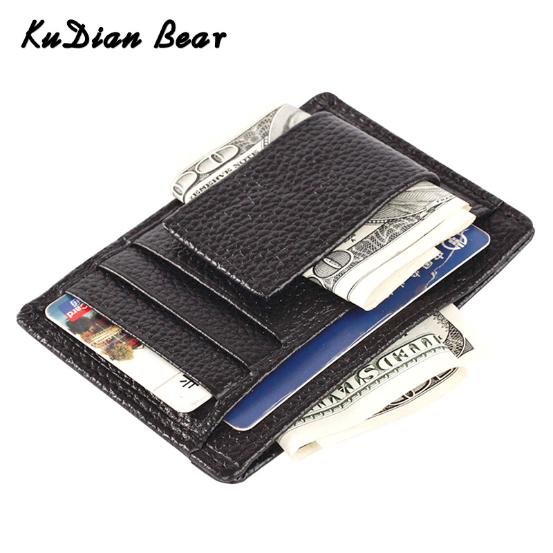 KUDIAN BEAR Men Money Clip Wallet Small Thin Card Case Genuine Leather Male Clamp For Money Carteras Hombre BID017 PM49
