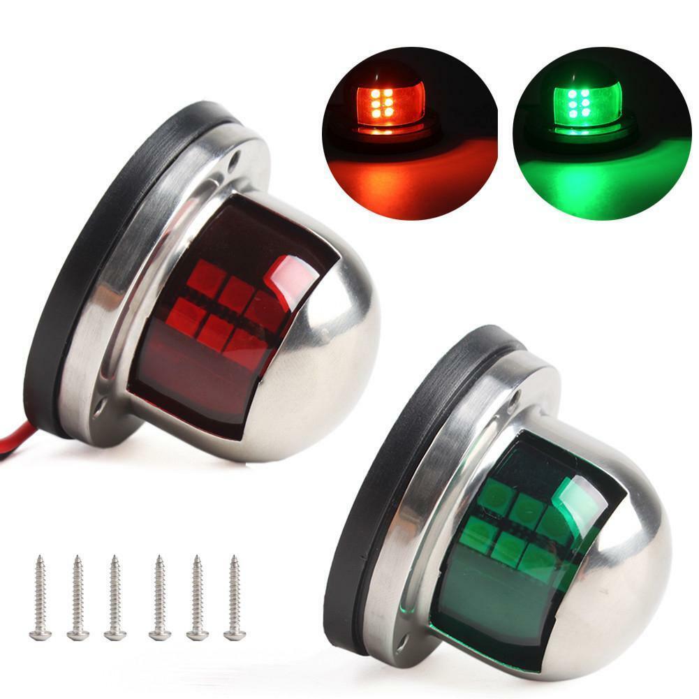 1Pair 12V Stainless Steel Red Green Bow LED Navigation Lights Marine Indicator Spot Light Marine Boat Yacht Sailing Signal Light