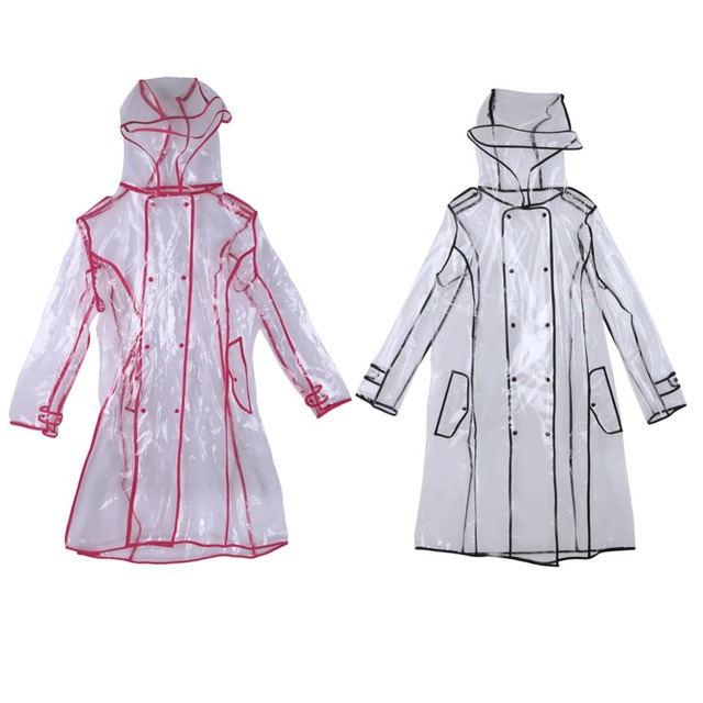 EVA Transparent Raincoat Long Raincoat for Women Waterproof Jacket Windbreaker Rain Poncho With Belt Outdoors capa de lluvia