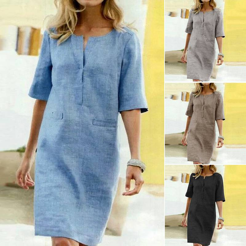 Summer Shirt Dress Women's Sundress 2019 ZANZEA Fashion Casual Tunic Vestidos Female Half Sleeve Party Solid Robe Femme Oversize