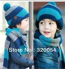 Free shipping,1 set hat and scarf ,2 – 8 years old children's button stripe knit cap + scarf ,winter warm hat multicolor.