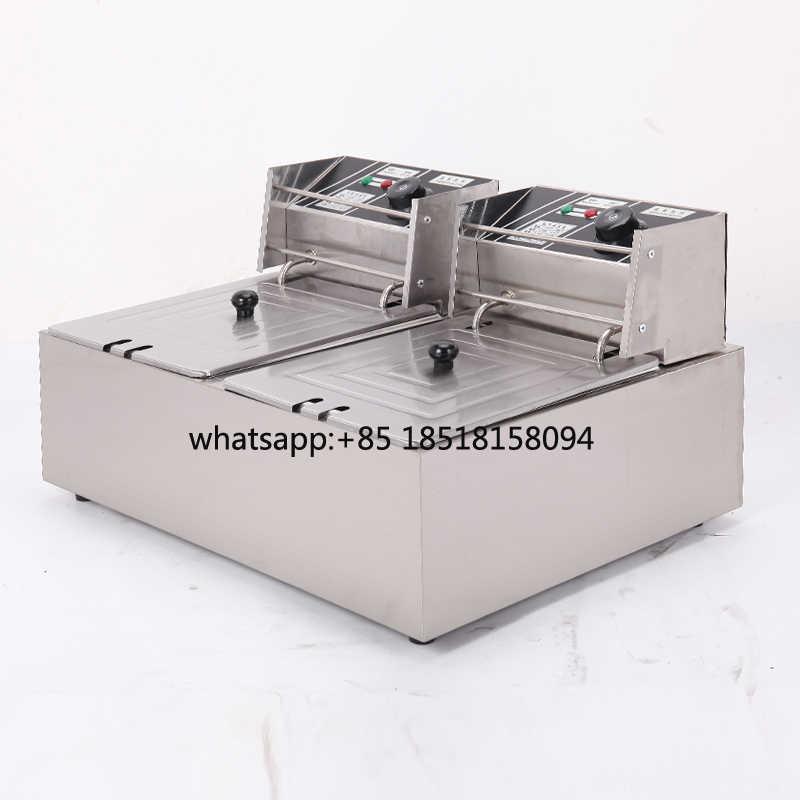Equipo de cocina encimera de acero inoxidable doble tanque doble cesta 12L freidora eléctrica patatas fritas freidora profunda