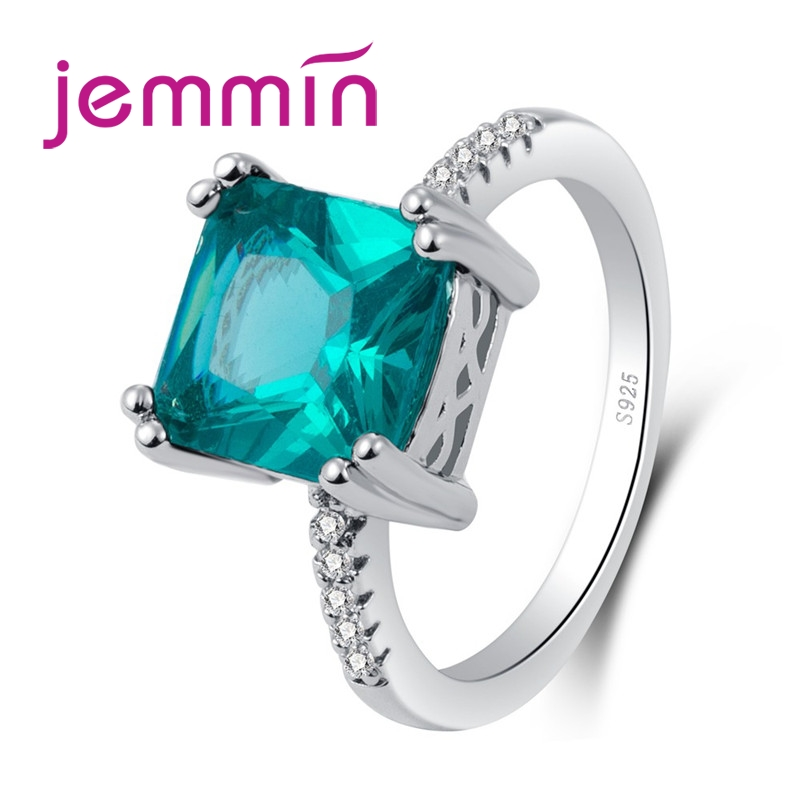 New Arrival Fashion Lady Big Green Square White CZ Stone 925 Sterling Silver Round Ring Jewelry Women Wedding Party