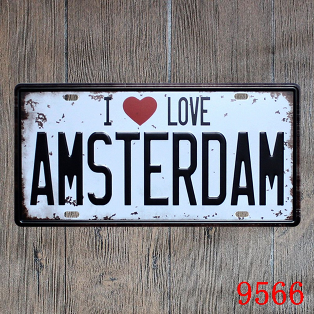 Car number  I LOVE YOU AMSTERDAM  License Plates plate Vintage Metal tin sign Wall art craft painting 15x30cm
