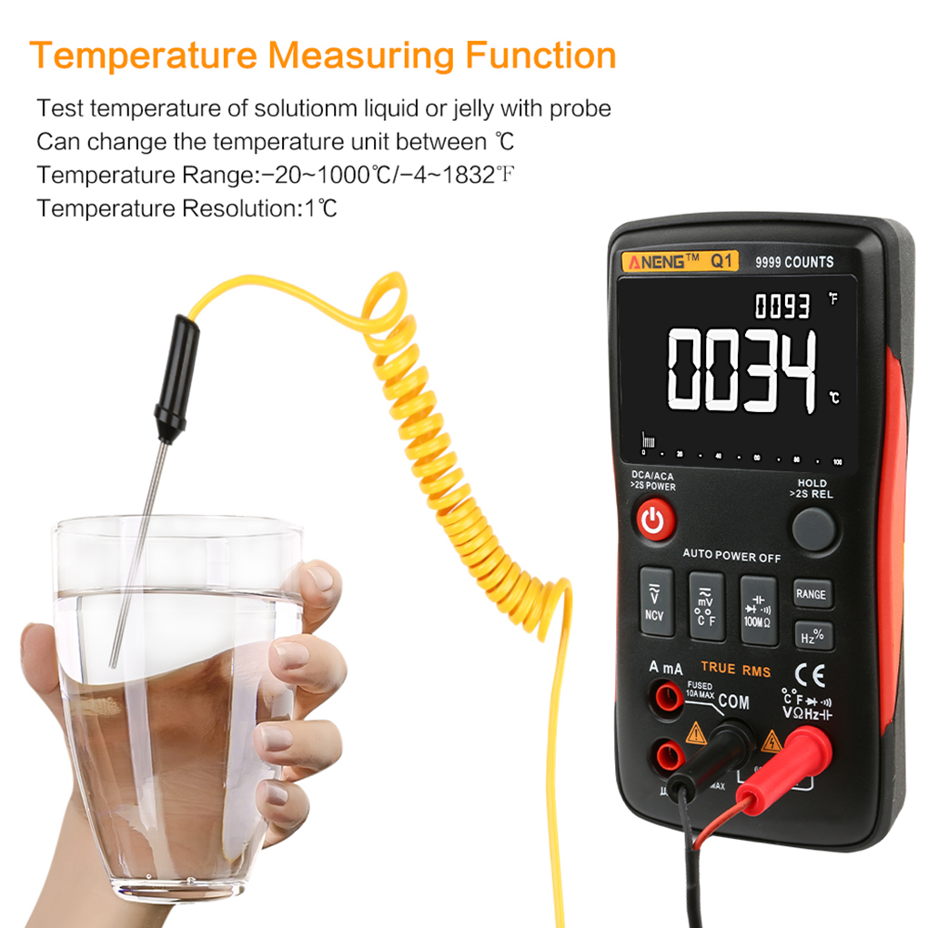 ANENG Q1 Digital Multimeter LCD Display AC DC Voltage Current Resistance Temperature Tester Diodes Continuity Detector clamp multimeter dt3266l lcd display digital multimeter handle ac voltage current resistance tester dt3266l multimeter tester