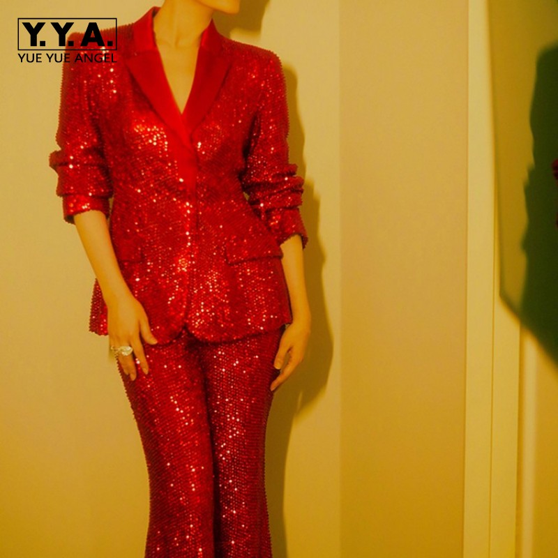 Top Brand Wedding Party Women Red Sequins Blazer Coat Wide Leg Pants Suit Runway Stage Show Formal Outfits Ladies Two Piece Sets