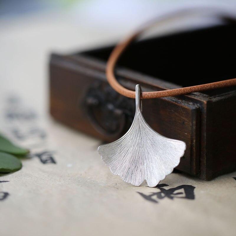 925 серебро листьев гинкго ожерелье дизайнер кулон ручной работы Женская мода Jewelry колье и кулоны Pingente оптовая продажа