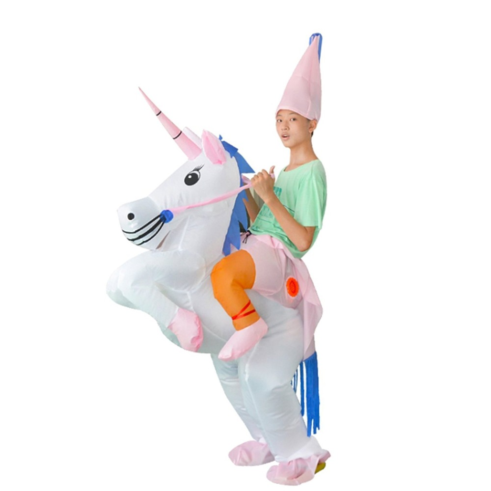 Kids Halloween Inflatable Unicorn Ride On Sky Horse Air Blowing Up Funny Costumes halloween costumes clown dressed up acting cute nose red