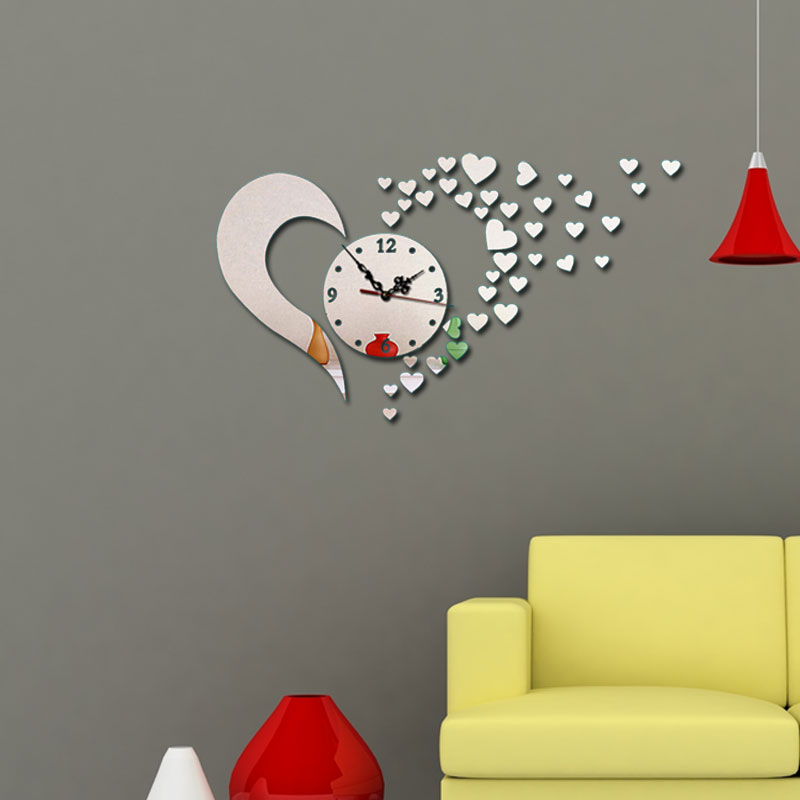 DIY Heartl Wall Decor 3D Vintage Wall Clock For Living Room Modern Design Clocks For Home Decor DIY Mirror Clocks Modern Watch in Wall Clocks from Home Garden