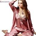 Горячие Женщины Пижамы Устанавливает Три Части Серый V-образным Вырезом Шелкового Атласа Пижамы Сексуальные Кружева Pijamas Modelos Femininos Плюс Большой Размер XXXL