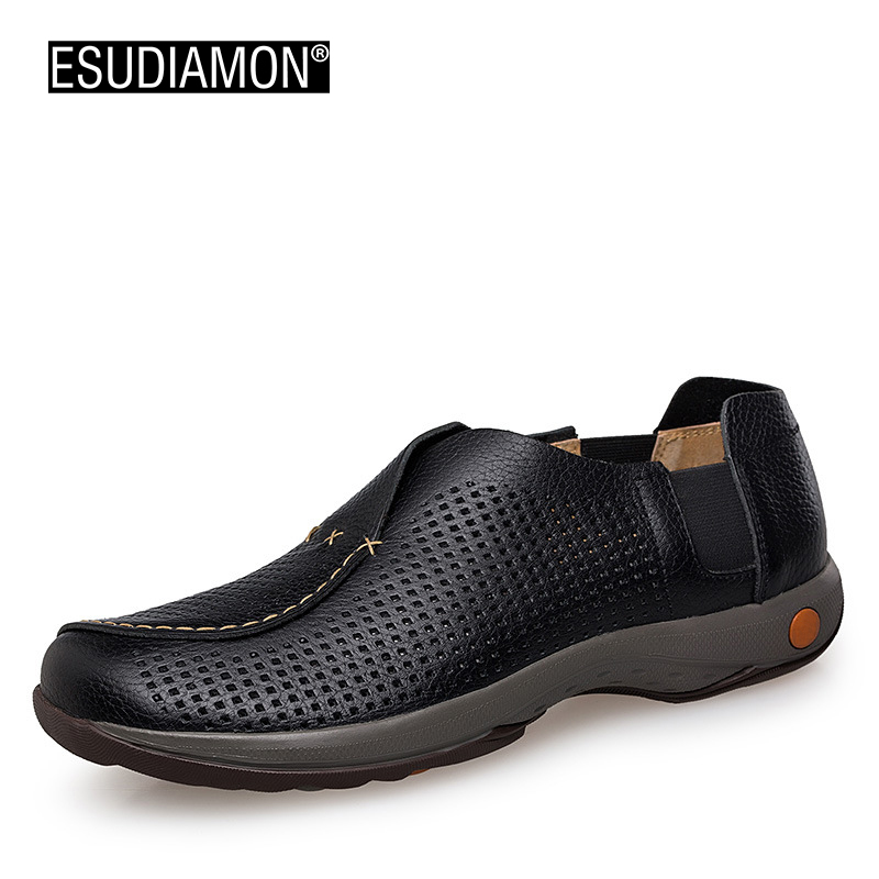 ESUDIAMON Breathable Hole Men Loafers Casual Boat Shoes Genuine Leather Slip On Driving Shoes Moccasins Flats BIG SIZE US12 big size 39 48 men flats summer genuine leather loafers breathable driving shoes moccasines slip on male casual shoes xk032808
