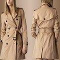 Женщины Новый Горячий Корейский Свободные Slim Тренч Хаки Хлопок V-образным Вырезом Длинные Пиджаки Женщины Desigual Пальто Adijustable Талии Плюс Размер