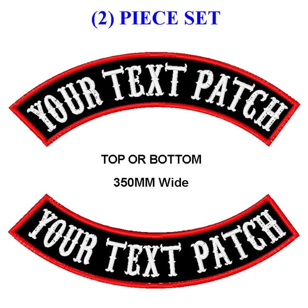 Parche basculante mc bordado personalizado 350mm de ancho superior e inferior parches de motociclista para chaleco cortado y ropa