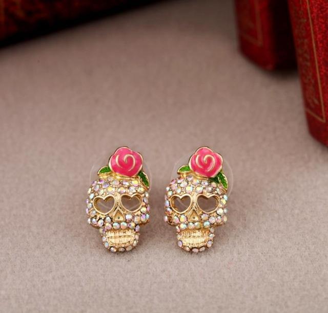Rose Earrings Pink Skull-Shaped Bow Retro Hot-Selling