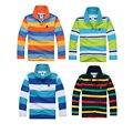 De alta calidad de los cabritos niños de manga larga camiseta de la marca niños niñas ropa boy camisas de polo de algodón 4 6 8 10 12 14 16 años