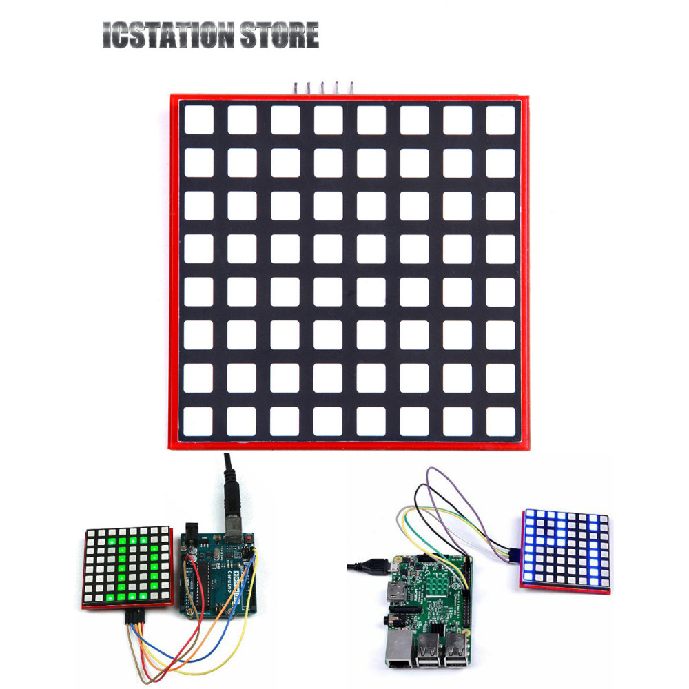 RGB LED 8x8 Full Color RGB DOT Matrix Screen SPI 74HC595 Compatible Arduino Raspberry Pi Banana Pi STM32 51 MSP430 full color 8 x 8 led rgb matrix screen driver board