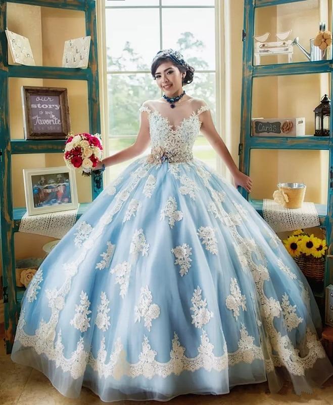 Popular Light Sky Blue and White Quinceanera Dress Cap ...  Popular Light S...