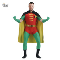 TCOS 2016 New Style Man Zentai Suit Batman Robin Cosplay Costume Custom Skin Tight Party Bodysuit