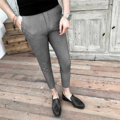 2019 летние новые ретро тенденция в полоску повседневные штаны стилист корейской версии самосовершенствование 9 штанов мужской