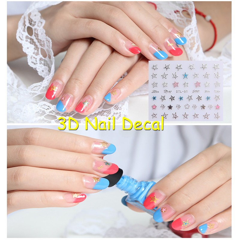 Free Shipping 5pcs 3D Golden Silvery Star Nail Art Sticker Hollow Decal Blue Pink Decoration French Manicure No80 In Stickers Decals From Beauty