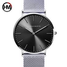 Япония Кварцевые двигаться для мужчин t нержавеющая сталь сетки Новый Топ Роскошные водонепроница ультра тонкий простые наручные часы