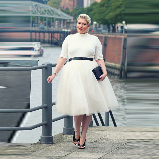 fd64a74d39f Plus Size Fashion Women Skirts A Line Knee Length Tutu Skirt Custom Made  Simple White Tulle Skirt Spring Autumn Casual