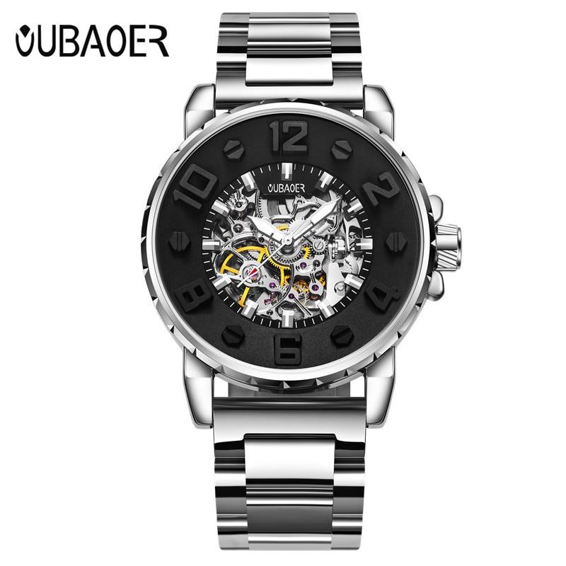 Automatic mechanical watch OUBAOER man business men's watch famous brand Fashion Casual Watches men erkek saat