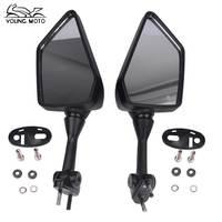 YOUNG MOTO Black Motorcycle Rearview Mirror Motos La Moto Motocicleta 6mm Racing Rear View Mirrors For