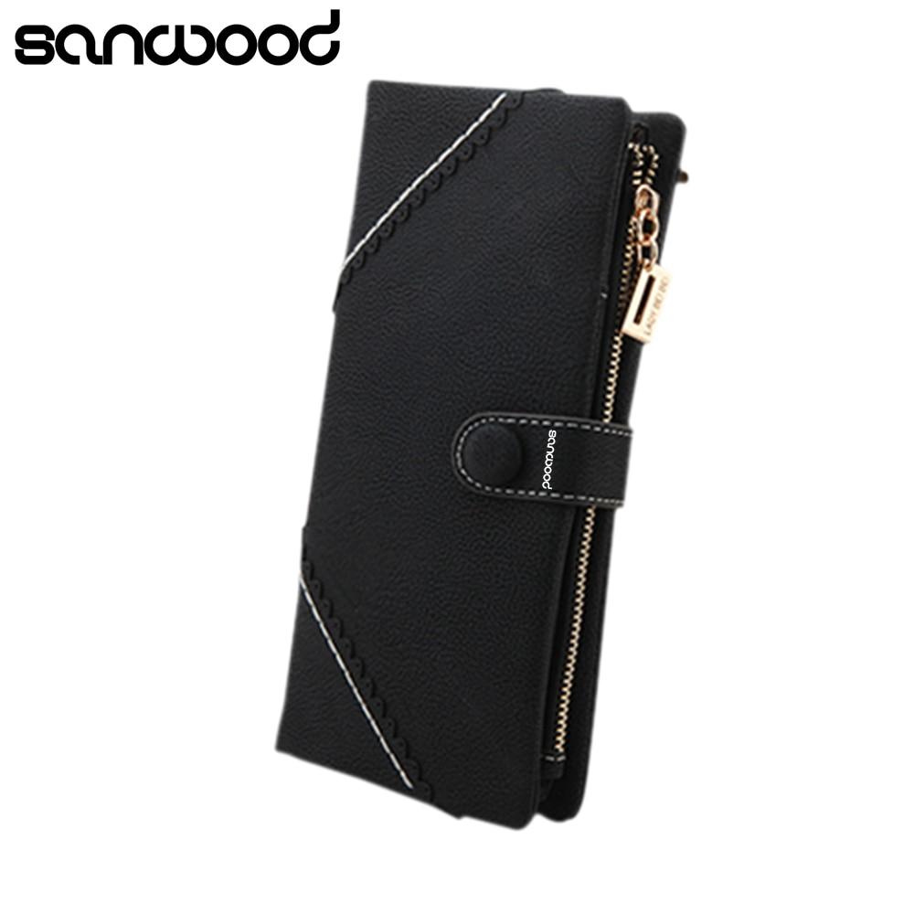 2016 Women's  Men's Zipper Bifold Faux Leather Case Long Purse  Snap Button Clutch Wallet  Carteira 9IIR zelda wallet bifold link faux leather dft 1857