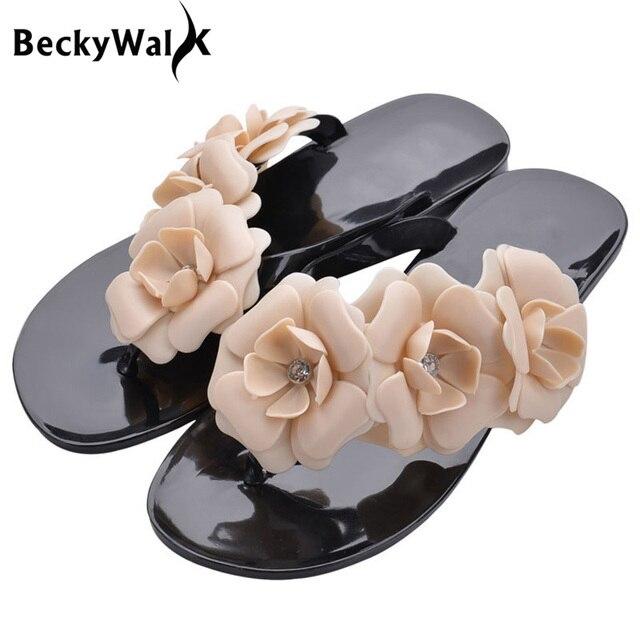 Снаружи летние дамские слипперы Сланцы женские босоножки женские Карамельный цвет пляжная обувь с цветочным женская прозрачная обувь wsh502