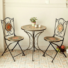 Leisure furniture combination Parure European fashion wrought iron indoor and outdoor tables and chairs Cafe Mosaic