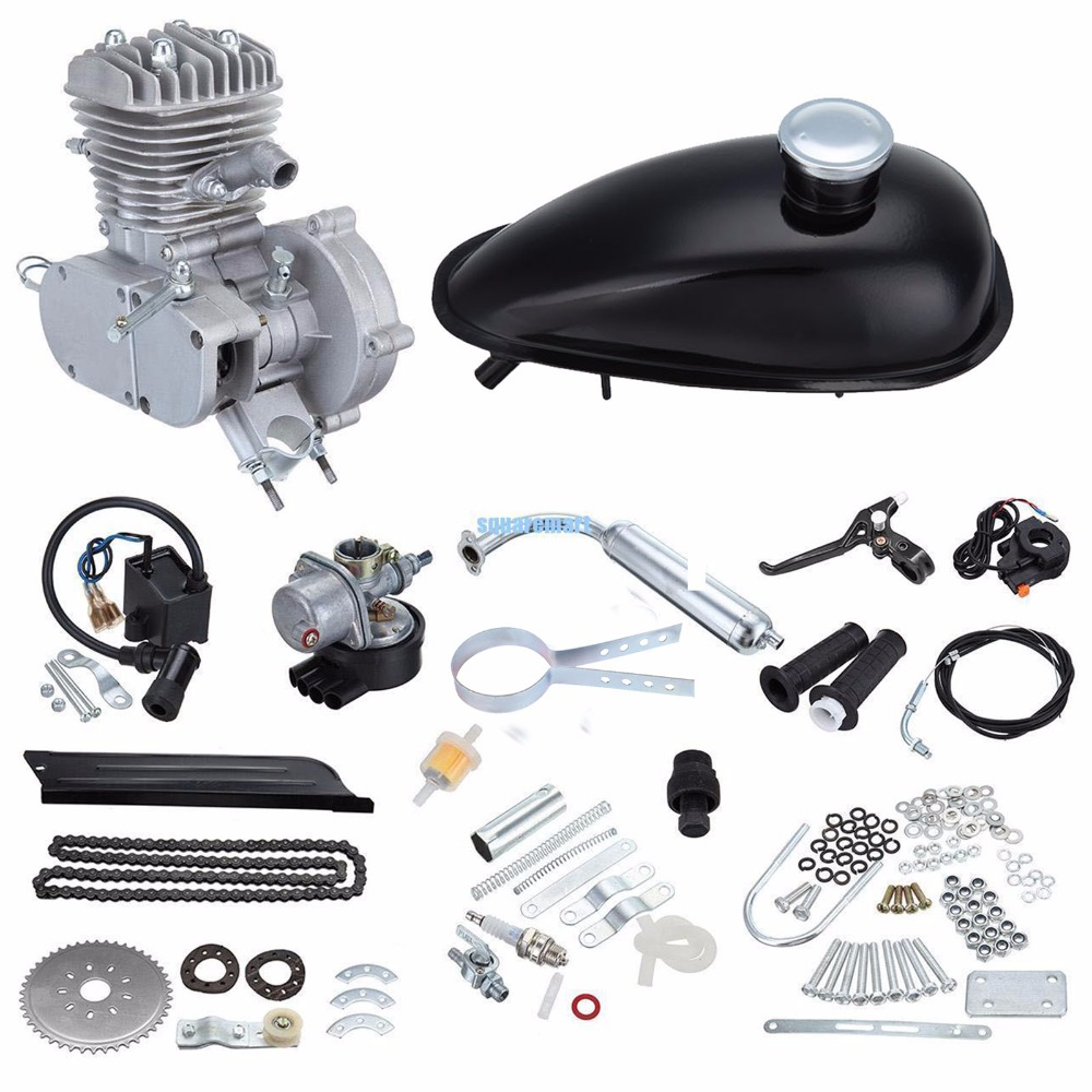 (Ship from Germany) Motorized Bicycle Bike 50cc 2 Stroke Petrol Gas Engine Motor Kit DIY Ebike Will fits 26 or 28 ship from usa 2 stroke 80cc motor blike bicycle engine kits gas bike kit c80 with suitable price