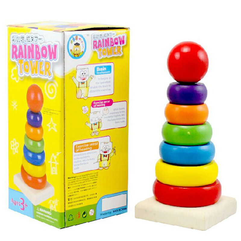 Montessori  Rainbow Tower Rings Wooden  Baby Toy Blocks  Math Toys Early Childhood Education  Kids Toys